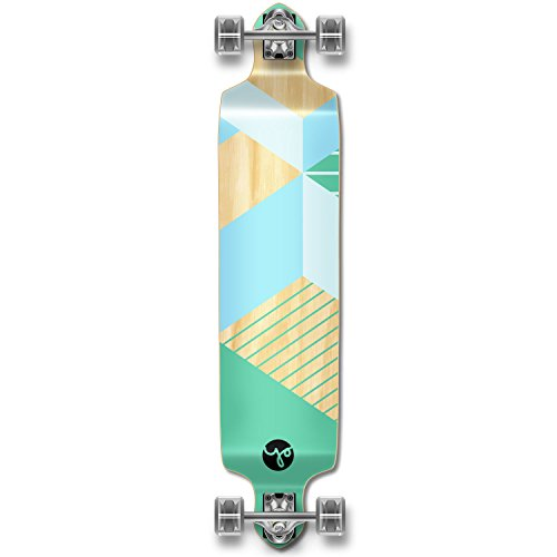 Yocaher Geometric Series Longboard Complete Cruiser and Decks Available for All Shapes (Complete-DropDown-Green) ()