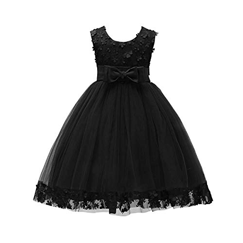 Weileenice 1-14 Years Big/Little Girl Flower Lace A-line Party Dresses (13-14Y, Black)