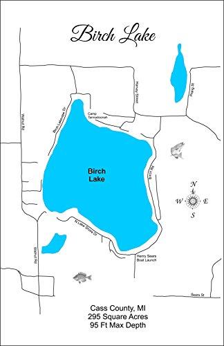 Birch Lake, Michigan: Standout Wood Map Wall - Birch Michigan