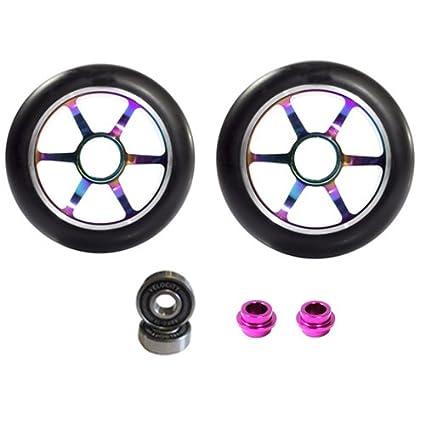 2 Wheels Purple 5 Spoke Metal Core Scooter Wheels 110mm Black