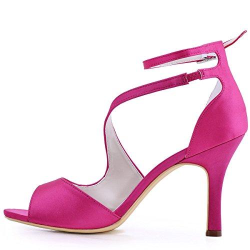 ElegantPark HP1505 Zapatos de tacón Punta abierta Rhinestones raso fiesta zapatos de novia Mujer Satin Rosa