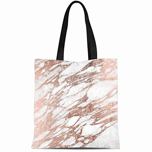 Ahawoso Canvas Tote Bag 14x16 Inches Popular Presents Chic Elegant White And Rose Gold Marble Pattern Durable Reusable Custom Shopping Shoulder Grocery Bag