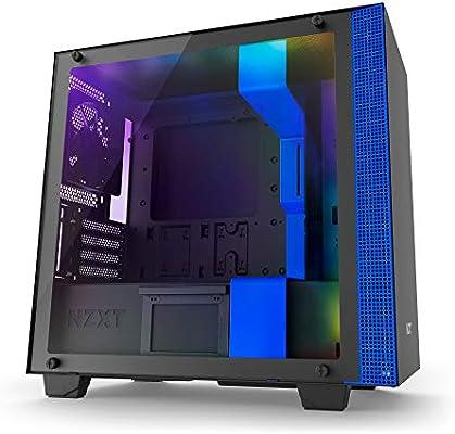 NZXT H400i - Caja PC Gaming MicroATX - Dispositivo inteligente con tecnología CAM - Panel de vidrio templado - Negro/Azul - Versión 2018: Nzxt: Amazon.es: Informática