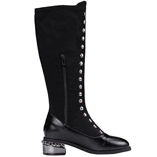 AIYOUMEI Damen Stretch Kniehohe Stiefel mit Nieten und 5cM Absatz Modern Britischer Stil Stiefel ST1xZiK