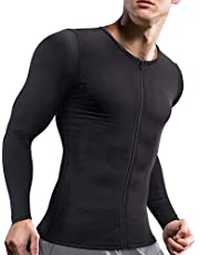 Ursexyly Men's Compression Shirts Long Sleeve Undershirts Slimmer Waist Trainer Workout Tops Body Shaper with Zipper