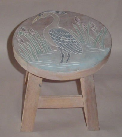 Great Blue Heron Hand Carved Wooden Foot Stool