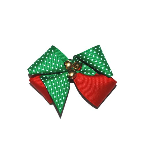 Squishy Pet Products Sprinkles Collar Accessories, My Little Elf, 3-Inch, Green/White Dot and Red Bow