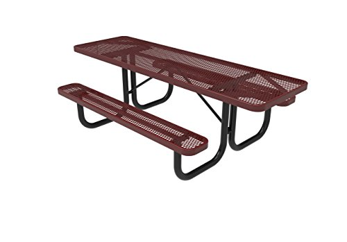 Coated Outdoor Furniture T8H2-RED Rectangular Portable Picnic Table, Handicap Accessible on Both Ends, 8 Feet, Red (Bench Steel Expanded 8')