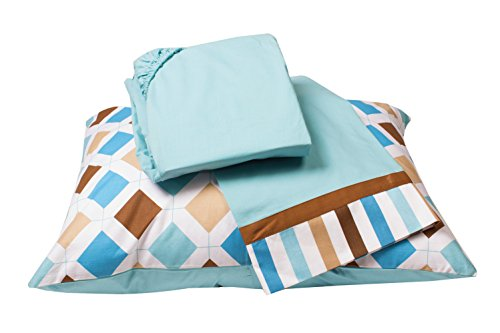 Bacati Mod Dia/Strps Aqua Toddler Sheet Set, Blue by Bacati