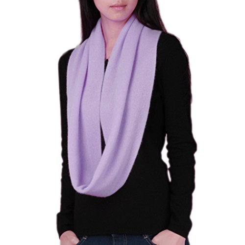 Novawo Women's Men's Super Soft Cashmere Solid Infinity Scarf (Purple)