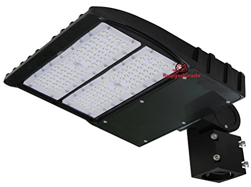 150 Watt NextGen LED Parking Lot Lights - 19,000 Lumen - Super Efficiency 130 Lumen to Watt - 5000K Bright White - Replaces 500W Halide - LED Shoebox Lights -Slip Fit Mount - NO photocell by RuggedGrade