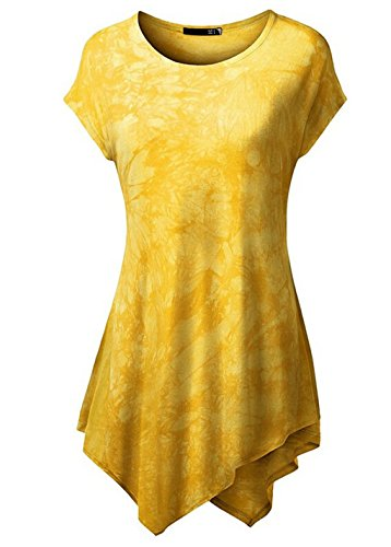 LemonGirl Women's Round Neck Short Sleeve Tunic Blouse T-Shirt Tops