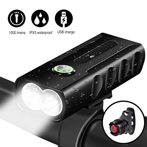Bike lights front and back,USB rechargeable waterproof LED Bicycle light front and rear,Headlight Tail Light,2600 mAh Battery Super Bright Safety Flashlight For Mountain Road Cycling