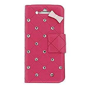 DD Grid Pattern with Diamonds PU Full Body Case with Stand and Card Slot for iPhone 5/5S (Assorted Colors) , Black