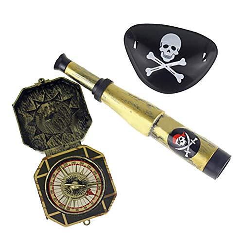 loinhgeo 3/60Pcs Caribbean Pirates Telescope Compass Cosplay Dress Up Toys Kids Gift 3pcs]()