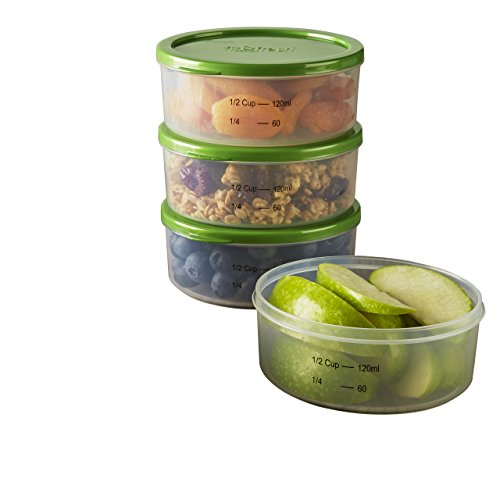 (Fit & Fresh Smart Portion 1/2 Cup Chilled Containers, Set of 4 Portion Control Containers with Removable Ice Packs, BPA-Free, Freezer/Microwave/Dishwasher Safe)
