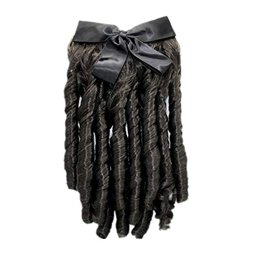 Romantic Ringlet Hairpiece with Hair Pin 18th Century Colonial Lady Regancy Costume Civil War Ball Gown Half Wig (1223Black -