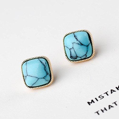 usongs National Wind retro turquoise geometric metal pin earrings 925 sterling silver earrings earrings elegant ()
