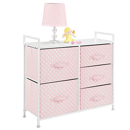 "mDesign Wide Dresser 5 Drawers Storage Furniture - Wood Top, Easy Pull Fabric Bins - Organizer for Child/Kids Room or Nursery - Polka Dot Pattern, 32.6"" W - Pink with White Dots"