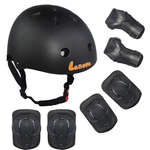 Lanova Kids Adjustable Sports Protective Gear Set Safety Pad Safeguard (Helmet Knee Elbow Wrist) Roller Bicycle BMX Bike Skateboard and Other Extreme Sports Activities (Black)