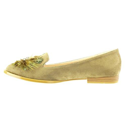 Angkorly - Chaussure Mode Mocassin slip-on femme fleurs fantaisie Talon bloc 2 CM - Vert