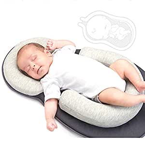 Grey Baby Bed Mattress Infant Sleep Positioner Ultra-Comfortable Baby Pillow for Infants /& Toddlers Portable Newborn Baby Head Support Original Newborn Lounger