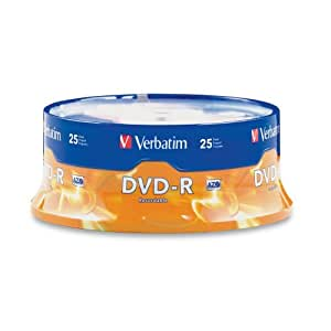 Verbatim 4.7GB up to 16x Branded Recordable Disc DVD-R (25-Disc Spindle) 95058