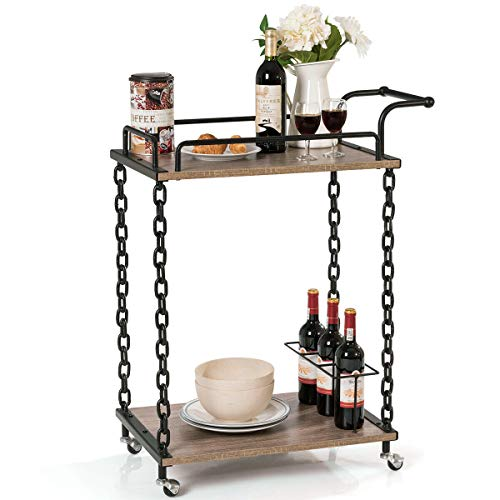 - lunanice Commercial Home Modern Chain Style Serving bar cart 29''×16''×36.5'' (L×W×H) 2-Tier Rolling Kitchen Bar Serving Cart Wine Trolley Chain Style Kitchen Island