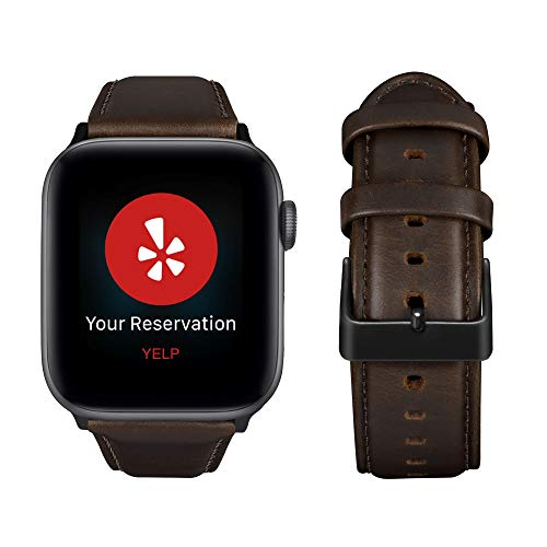 Genuine Leather Replacement Band - top4cus Genuine Leather iwatch Strap Replacement Band Stainless Metal Clasp, Compatible for 38mm 42mm Apple Watch Series 4(40mm 44mm) S3 S2 S1 and Sport Edition (Matte Coffee Brown, 44 mm)