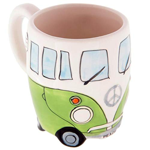 kevan Creative Hand Painting Double Bus Mugs Retro Ceramic Cup Coffee Milk Tea 400ml (Green) ()