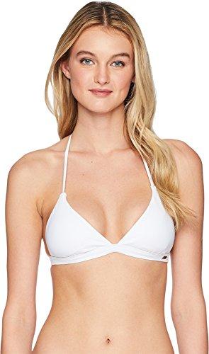 Reversible Triangle Top - Roxy Women's Print Strappy Love Reversible Fixed Triangle Bikini Top Bright White X-Large