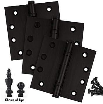 Black  Finish Box of 3 4822FBB Richelieu Hardware Mortise Butt Hinge with Ball Bearing