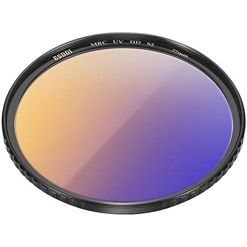 77mm UV Filter, ESDDI UV Protection Filter with Tavg?99%, Ultra Slim 22 Layers Resistant Coating, Ultralight CNC Copper Frame, SCHOTT B270 Optical Glass