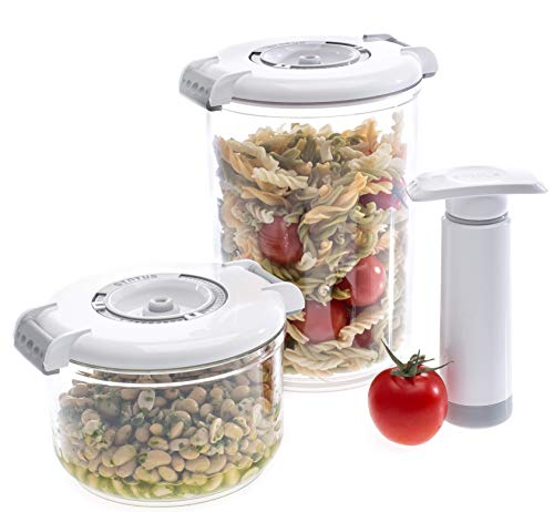 - Prepsealer Vacuum Food Storage Round containers -White, BPA Free, 2 containers, 2 drip Trays,Manual Pump, Microwave, Dishwasher, Freezer Safe, Keep 4X Fresh Longer