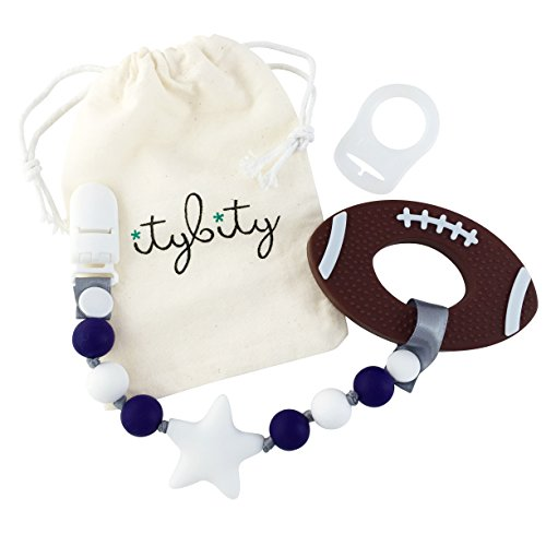 Football Pacifier (Football Baby Teething Toy with Pacifier Clip Boy or Girl Teether (Navy, White))