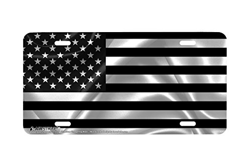 Airstrike Black American Flag License Plate Patriotic Front License Plate Made in USA (Made of Metal)-766 - Flag Embossed License Plate