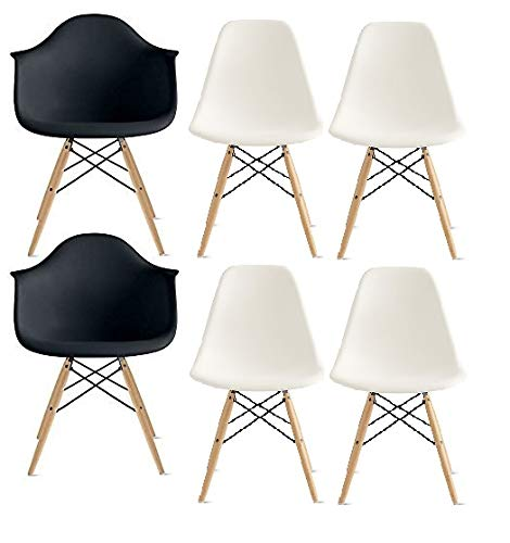 Combo W4B2 Inspirer Studio® Set of 6 New 17 inch SeatDepth Eames Style Side Chair with Natural Wood Legs Eiffel Dining Room Chair Lounge Chair Eiffel Legged Base Molded Plastic Seat Shell Top Side Chairs (Ribbed Black)