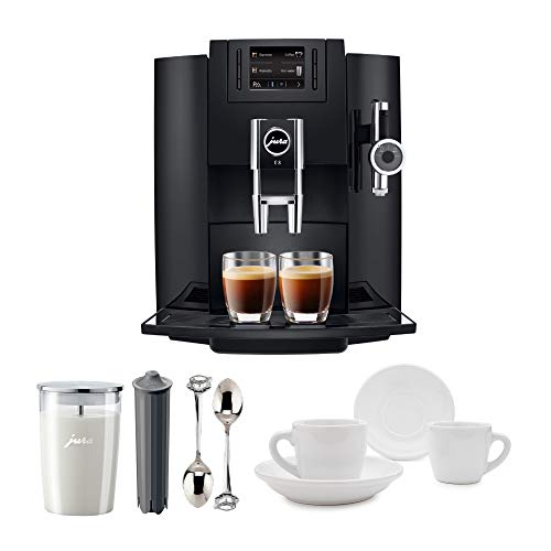 (Jura 15109 Automatic Coffee Machine E8, Black Includes Jura Milk Container, Jura Filter Cartridge and Two Espresso Cups and Sauceres)