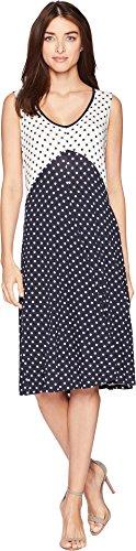 - Jones New York Women's Sleeveless V-Neck Dress w/Back Cut Out Dress Navy/Ivory Dot Small