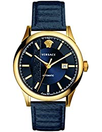 Men's 'AIAKOS' Swiss Automatic Gold-Tone and Leather Casual Watch, Color:Blue (Model: V18020017)