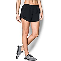 Under Armour womens Fly By Running Shorts, Black (002)/Reflective, Large