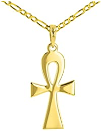 Solid 14K Yellow Gold Egyptian Ankh Cross Pendant Necklace with Figaro Chain Necklace
