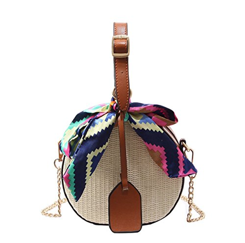 Womens Straw Hand woven Convertible Crossbody Shoulder Bag Vintage Round Summer Mini Tote with scarf (Brown) - Brown Chic Handbag