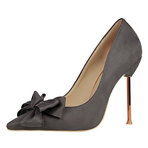 Aalardom Womens Spikes-stilettos Escarpins À Bout Pointu Solide-chaussures Avec Bowknot Gris