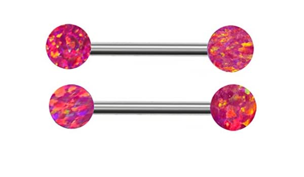 Pair of Red Hot Pink Sparkling synthetic fire Opal Carmine Nipple rings body Jewelry piercing bar barbell ring 14g gauge