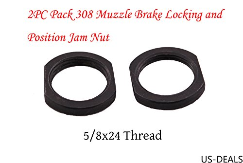 Muzzle Device (US-DEALS 5/8x24 Thread Crush Washer Replacement Jam Nut For Muzzle Device Locking and Position Adjustement, All Steel, Black Steel, 2PC Pack)