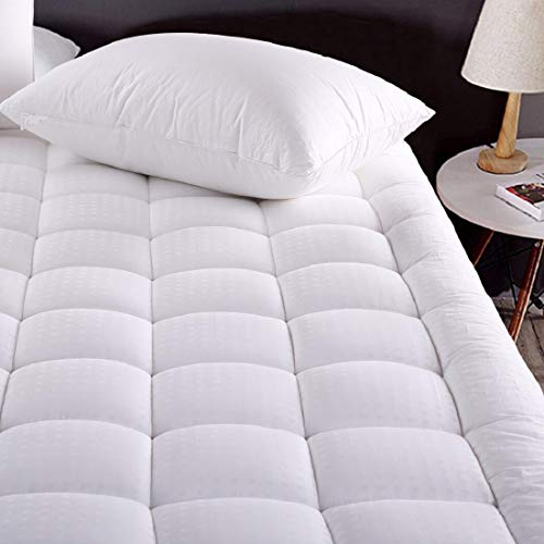 (MEROUS Cal King Size Cotton Mattress Pad - Pillow Top Quilted Mattress Topper,Fitted 8-21 Inch Deep Pocket Mattress Pad Cover)