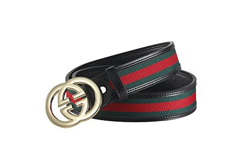 Fashion G-Style unisex Business Casual Belt [3.8CM] (black with gold buckle, 115CM[Waist 33-35'']) by Cody