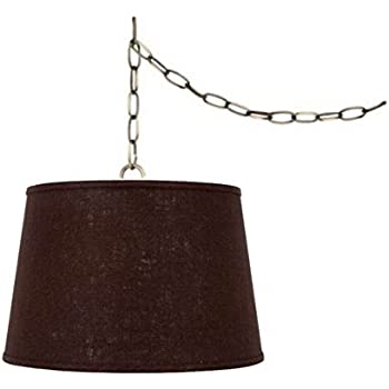 Upgradelights Swag Lamp Light Pendant Plug In Chain Hung Lamp Brown Linen Barrel Ceiling