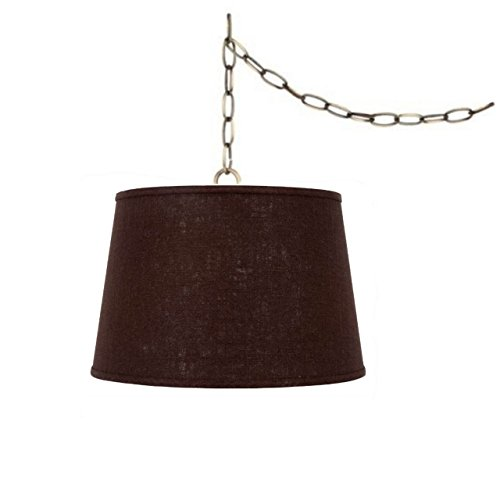 Upgradelights Swag Lamp Light Pendant Plug in Chain Hung Lamp Brown Linen Barrel